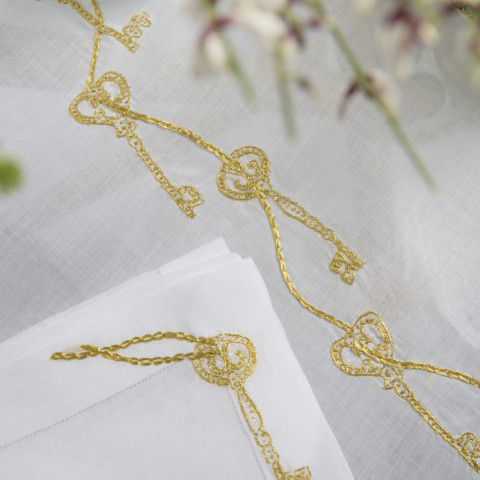 Cles Secretes (Secret Keys) White Embroidered Table Linens | Gracious Style