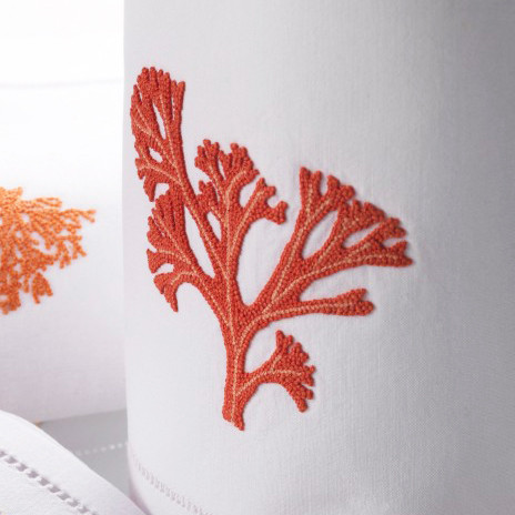 Corail (Coral) White/Coral Embroidered Table Linens | Gracious Style