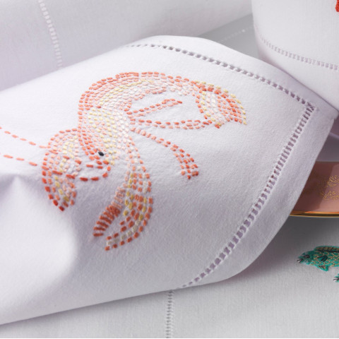 Crustace (Crustacean) White Embroidered Table Linens | Gracious Style
