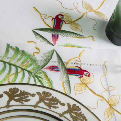 Jungle White Embroidered Table Linens | Gracious Style