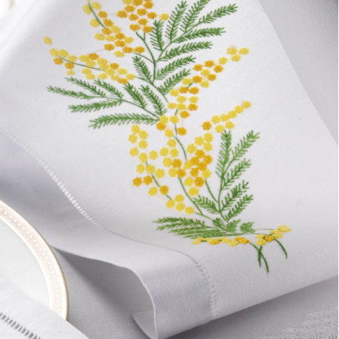 Mimosa White Embroidered Table Linens   Gracious Style