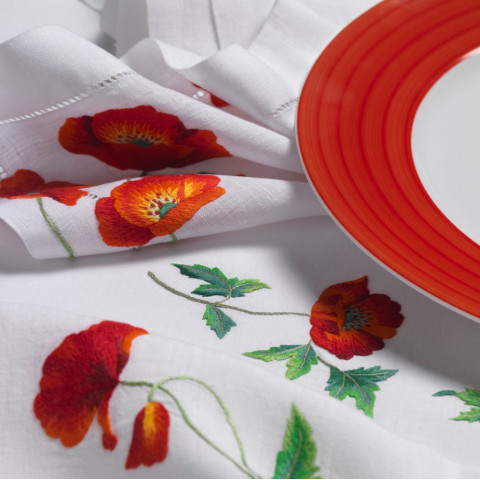Passion White Embroidered Table Linens | Gracious Style