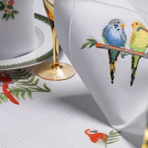 Perroquets (Parrots) White Embroidered Table Linens   Gracious Style