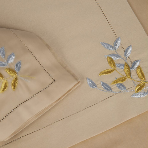 Reveries Ivory and Beige Embroidered Table Linens | Gracious Style