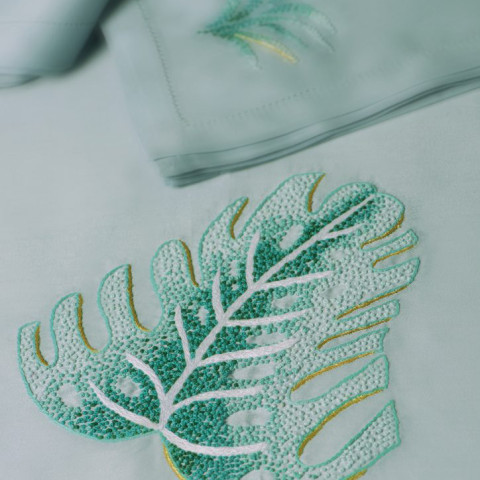 Savane Green Embroidered Table Linens | Gracious Style