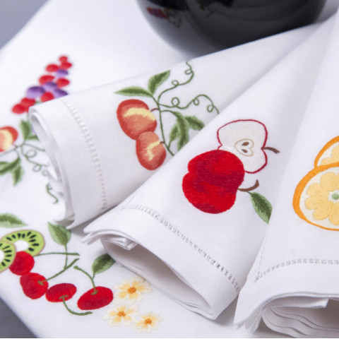 Tutti Frutti White Embroidered Table Linens | Gracious Style