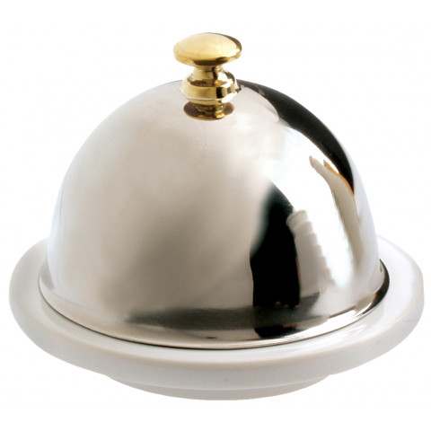 Les Essentiels White Butter Dish  +  Stainless Steel Lid 3.5 In 2.5 Oz | Gracious Style