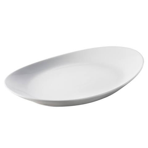 Les Essentiels White Oval Plate 13 x 8.5 x 1.5 In   Gracious Style