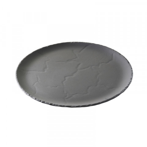 Basalt Matte Slate Style Steak Plate Curved Edges 15.5 x 9.5 x 0.75 In | Gracious Style