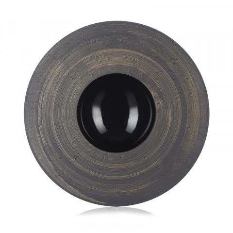Solid Glossy Black Sphere Plate Copper Crescendo 12 In | Gracious Style