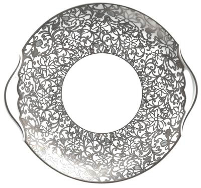 Salamanque Platinum 9.75 in Cake Plate with Handles | Gracious Style