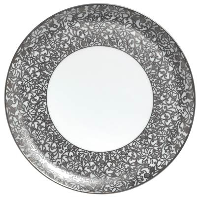 Salamanque Platinum Round Flat Cake Plate 12.25 in Round | Gracious Style