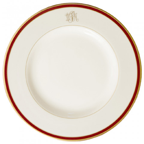 Signature Monogram Burgundy Dinnerware | Gracious Style