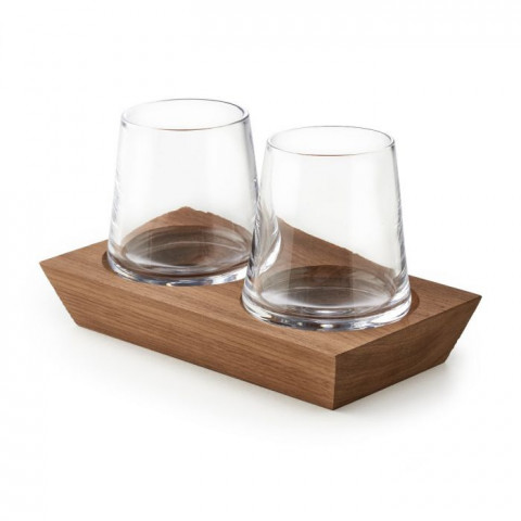 Ludlow Whiskey Glass Set of 2 with Wood Base | Gracious Style