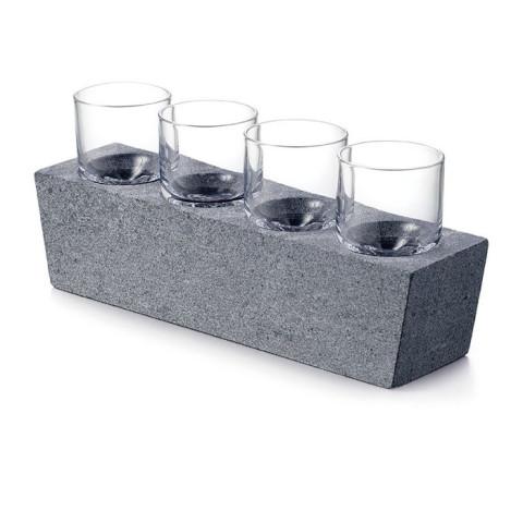 Alpine Vodka Glass Set of 4 with Soapstone Base | Gracious Style