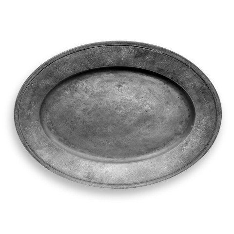 Pewter Melamine Oval Platter   Gracious Style