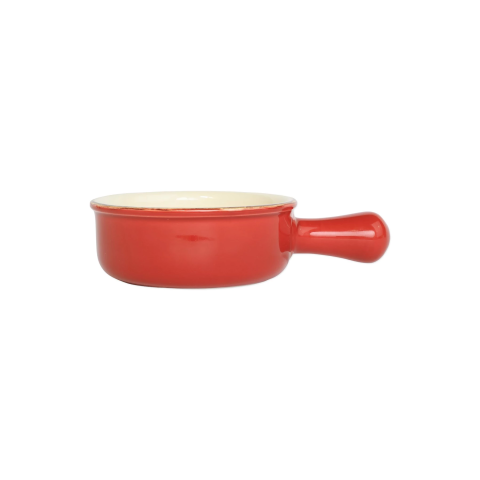 Italian Bakers Red Small Round Baker With Large Handle - 7.5 in. l, 6.25 in. w, 0.50 Quart | Gracious Style