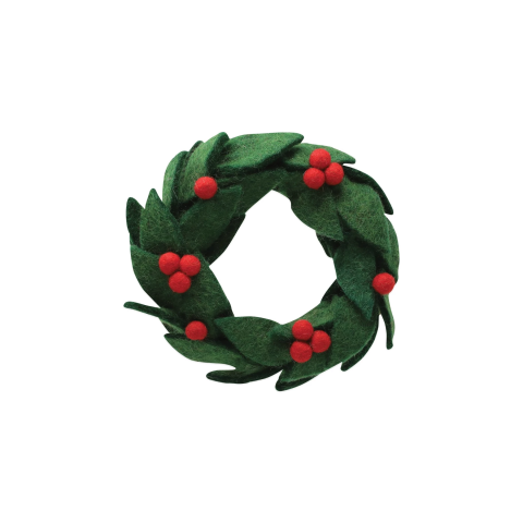 Ornaments Felt Wreath W/ Red Berries Ornament - 6.25 in. d | Gracious Style