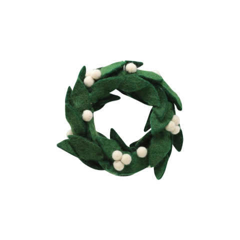 Ornaments Felt Wreath W/ White Berries Ornament - 6.25 in. d | Gracious Style