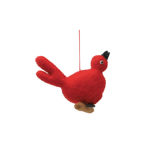 Ornaments Felt Red Bird Ornament - 5.5 in. l, 5.5 in. w | Gracious Style