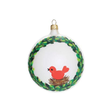 Ornaments Wreath W/ Red Bird Ornament - 4 in. d | Gracious Style