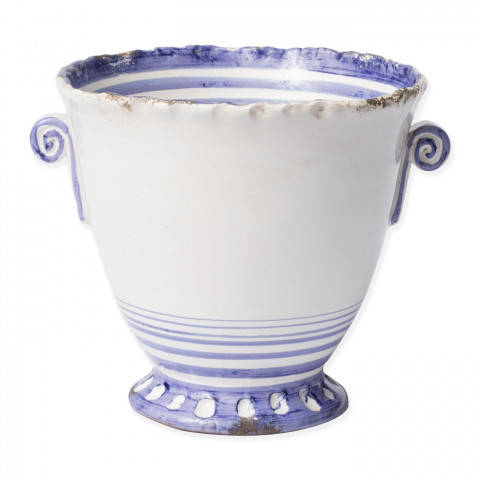 Rustic Garden Blue Striped Small Flair Cachepot - 11.5 in. d, 9 in. h | Gracious Style