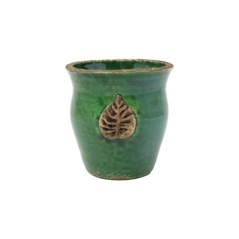 Rustic Garden Emerald Green Small Cachepot W/ Leaf - 4.25 in. d, 5.25 in. h   Gracious Style