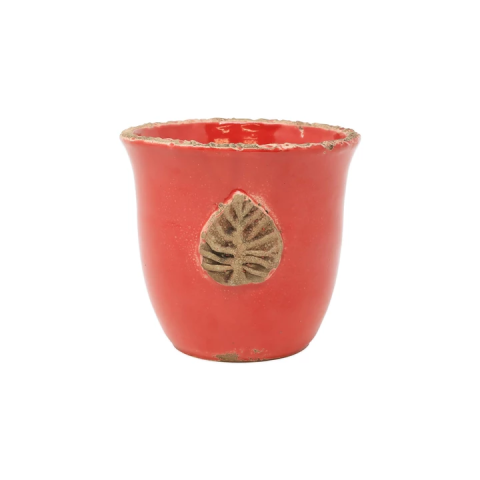 Rustic Garden Red Small Cachepot W/ Leaf - 4.25 in. d, 5.25 in. h | Gracious Style