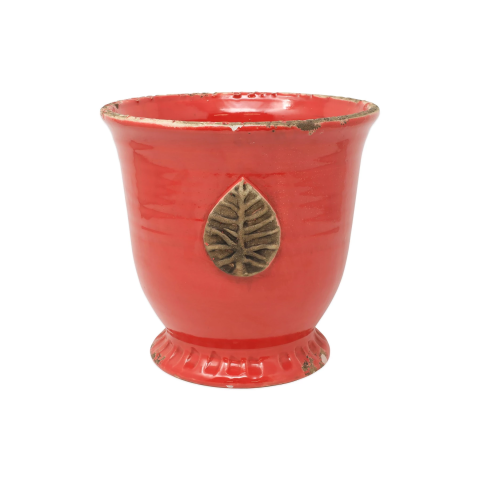 Rustic Garden Red Medium Cachepot W/ Leaf - 9 in. d, 8.75 in. h | Gracious Style