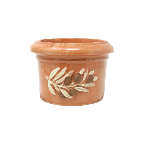 Rustic Garden Olives Brown Round Planter - 9 in. d, 6.5 in. h | Gracious Style
