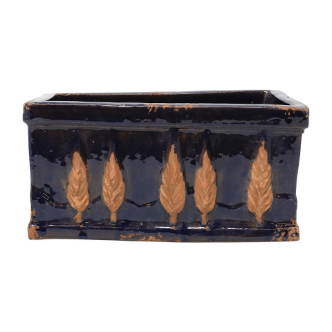 Rustic Garden Midnight Blue Small Rectangular Planter - 10.25 in. l, 6 in. w, 5 in. h | Gracious Style