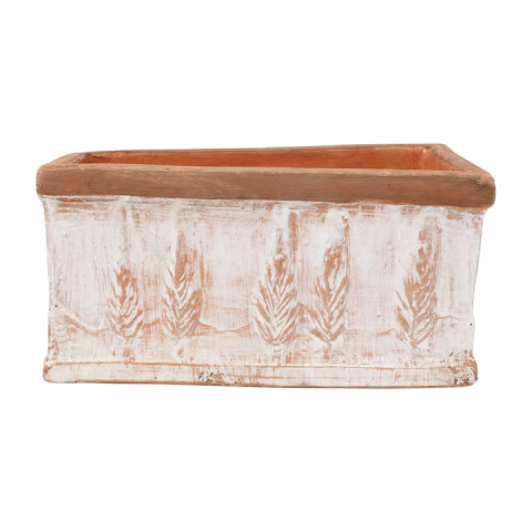 Rustic Garden Winter White Small Rectangular Planter - 10.25 in. l, 6 in. w, 5 in. h | Gracious Style