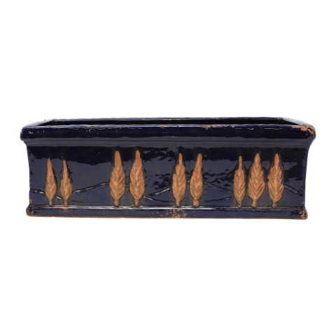 Rustic Garden Midnight Blue Large Rectangular Planter - 15.25 in. l, 5.75 in. w, 5 in. h | Gracious Style