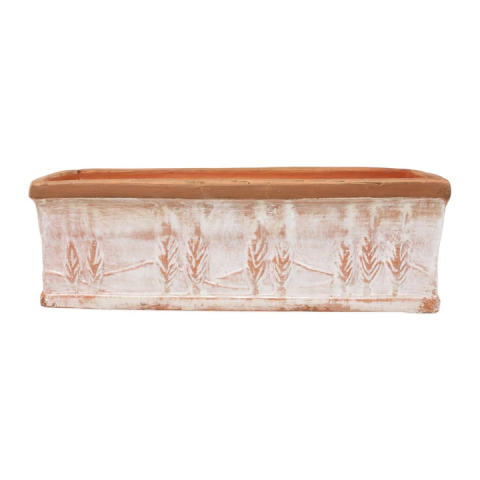 Rustic Garden Winter White Large Rectangular Planter - 15.25 in. l, 5.75 in. w, 5 in. h | Gracious Style