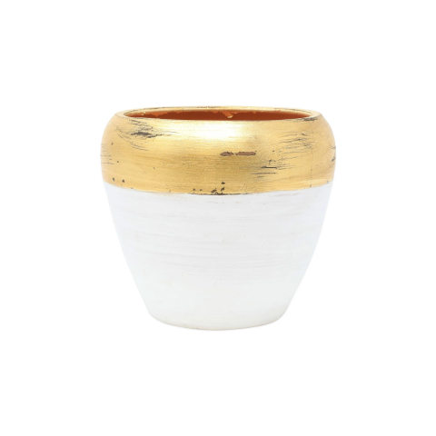 Rustic Garden White & Gold Small Cachepot - 7 in. d, 6 in. h | Gracious Style