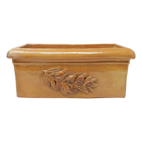 Rustic Garden Olives Yellow Rectangular Planter - 16 in. l, 9.25 in. w, 6.75 in. h | Gracious Style