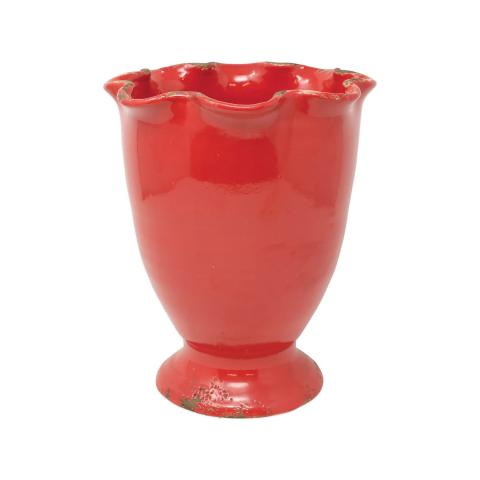 "Rustic Garden Red Medium Ruffled Cachepot - 7.75""d, 9.75""h | Gracious Style"
