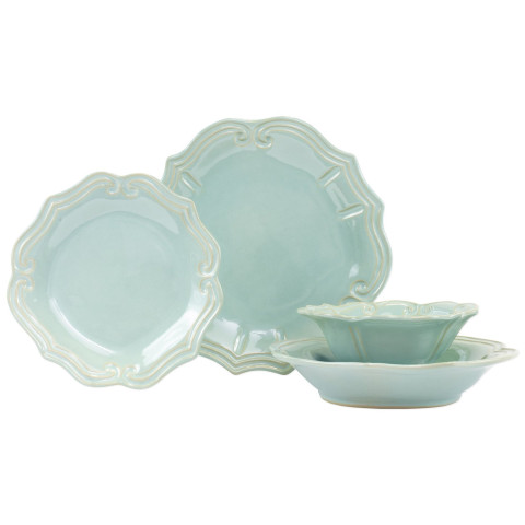"Incanto Stone Aqua Baroque Four-piece Place Setting - 6.5 in. -11"" D 