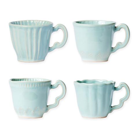 Incanto Stone Aqua Assorted Mugs - Set Of 4 - 3.25 in. h, 10 Oz | Gracious Style