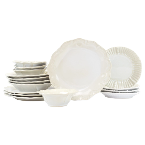 Incanto Stone Linen Assorted Sixteen-piece Place Setting - 6.5 in. -11 in. d | Gracious Style