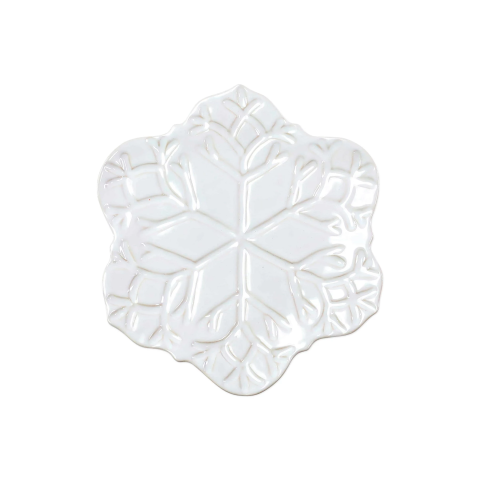 Incanto Stone Winterland White Snowflake Salad Plate - 9 in. d | Gracious Style