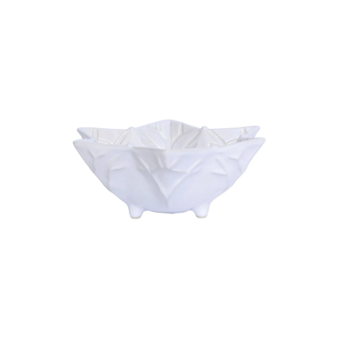 Incanto Stone Winterland White Snowflake Footed Bowl - 7.5 in. d, 2.75 in. h | Gracious Style