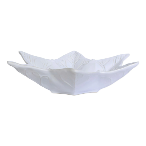 Incanto Stone Winterland White Snowflake Large Serving Bowl - 15.25 in. d, 3.5 in. h | Gracious Style