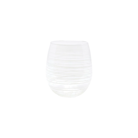 Swirl White Stemless Wine Glass - 4 in. h, 10 Oz | Gracious Style