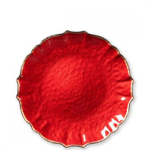 Baroque Glass Red Salad Plate - 8.5 in. d | Gracious Style