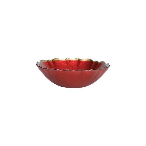Baroque Glass Red Small Bowl - 6.75 in. d, 2 in. h | Gracious Style