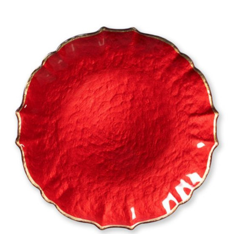 Baroque Glass Red Service Plate/charger - 13 in. d | Gracious Style