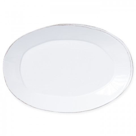Lastra Melamine White Oval Platter 18 in L 12.5 in W | Gracious Style