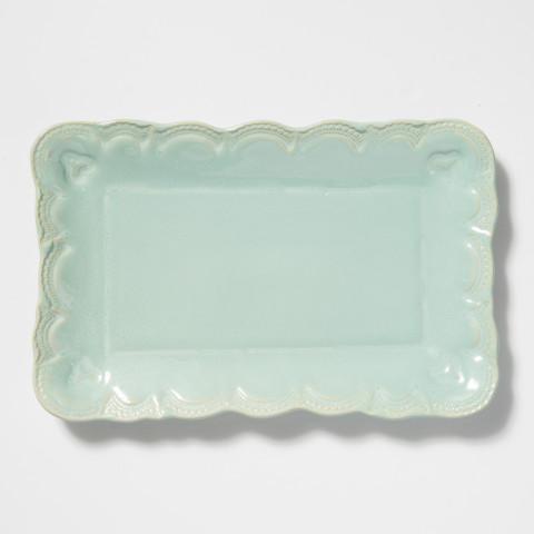 Incanto Stone Aqua Lace Small Rectangular Platter | Gracious Style