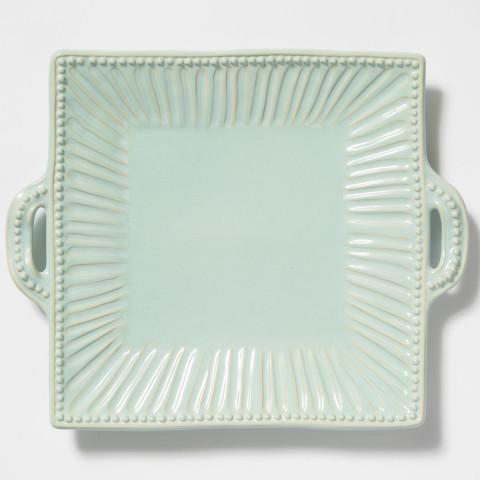 Incanto Stone Aqua Stripe Square Handled Platter | Gracious Style